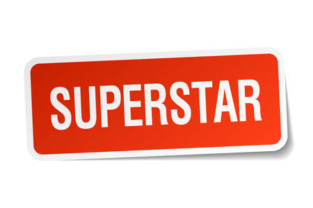 superstar: superstar red square sticker isolated on white