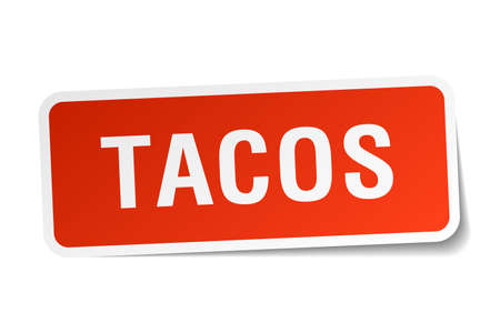 tacos: tacos red square sticker isolated on white Illustration