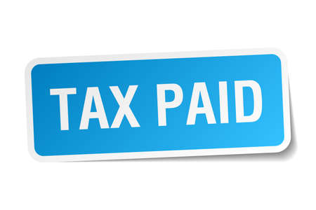 paid: tax paid blue square sticker isolated on white Illustration