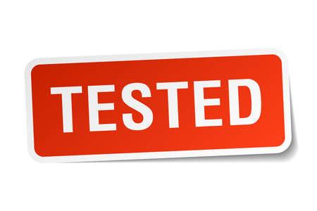 tested: tested red square sticker isolated on white