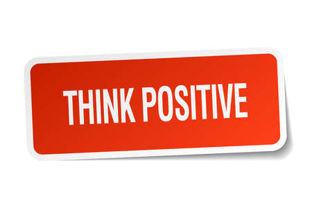 think positive: think positive red square sticker isolated on white Illustration
