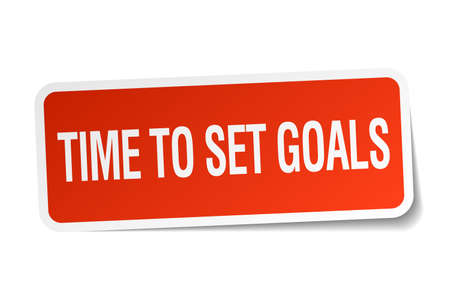 time square: time to set goals red square sticker isolated on white