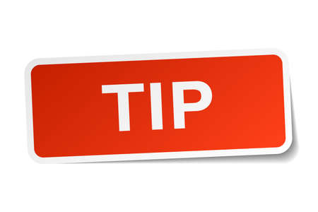 tip: tip red square sticker isolated on white