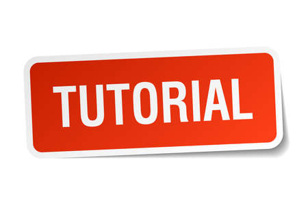 tutorial: tutorial red square sticker isolated on white