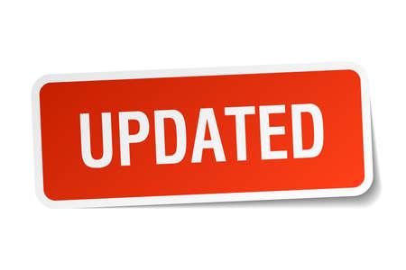 updated: actualizado adhesivo cuadrado rojo aislado en blanco