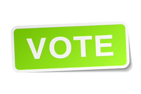 democrats: vote green square sticker on white background
