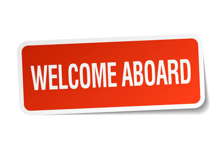 aboard: welcome aboard red square sticker isolated on white