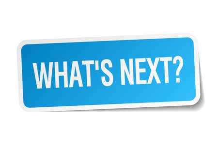 whats next blue square sticker isolated on white