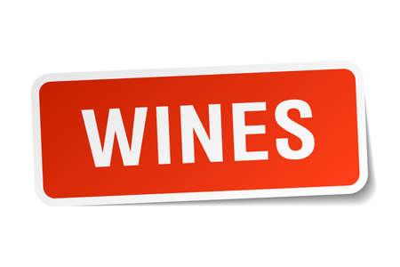 wines: wines red square sticker isolated on white