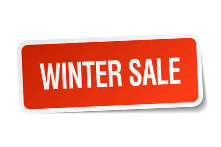 winter sale: winter sale red square sticker isolated on white
