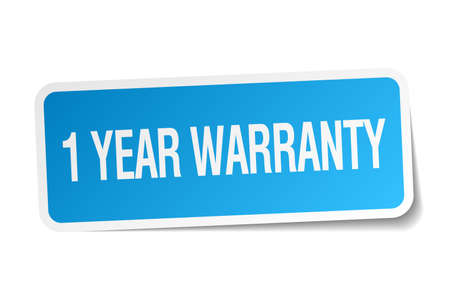 1 year warranty: 1 year warranty blue square sticker isolated on white Illustration