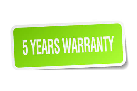 5 years: 5 years warranty green square sticker on white background