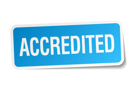 accredited: accredited blue square sticker isolated on white