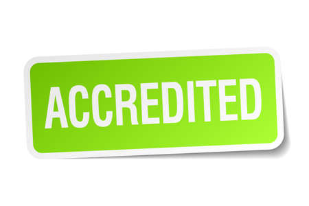 accredited: accredited green square sticker on white background