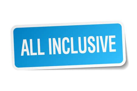 inclusive: all inclusive blue square sticker isolated on white