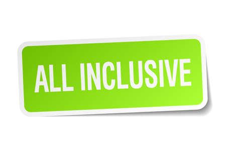 inclusive: all inclusive green square sticker on white background