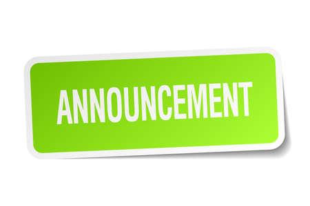 announcement: announcement green square sticker on white background