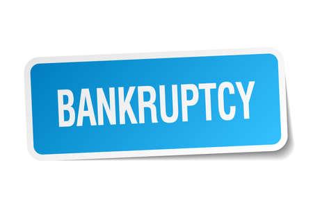 faillite: autocollant carr� bleu de faillite isol� sur blanc