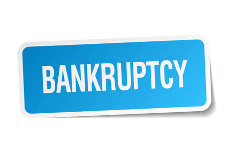 bankruptcy: bankruptcy blue square sticker isolated on white