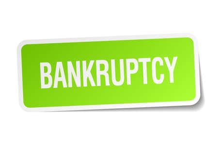 faillite: autocollant faillite carr� vert sur fond blanc Illustration