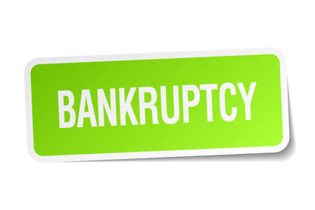 bankruptcy: bankruptcy green square sticker on white background Illustration