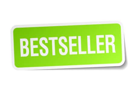 bestseller green square sticker on white background