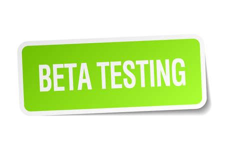 tester: beta testing green square sticker on white background