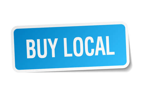 buy local: buy local blue square sticker isolated on white Illustration