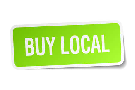 buy local: buy local green square sticker on white background