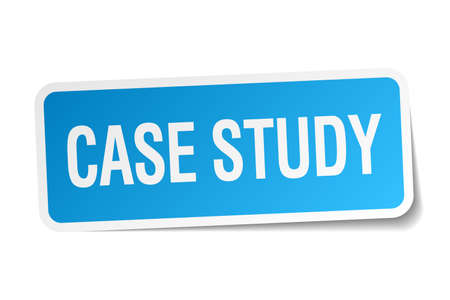 case studies: case study blue square sticker isolated on white