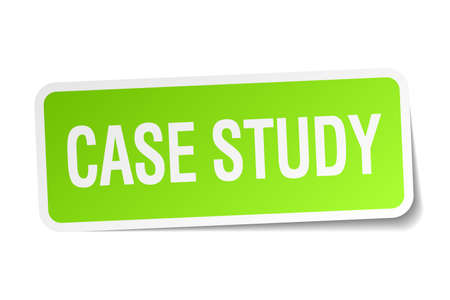 case studies: case study green square sticker on white background