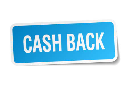 cash back: cash back blue square sticker isolated on white Illustration