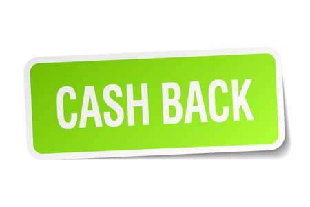 cash back: cash back green square sticker on white background