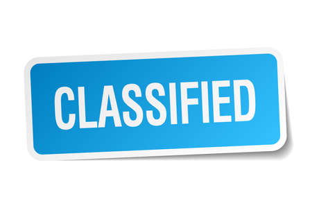 classified: classified blue square sticker isolated on white Illustration