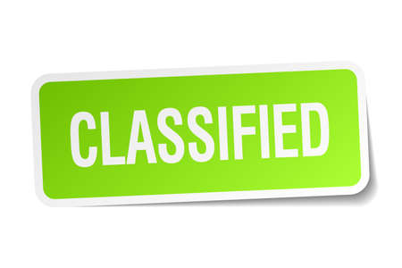 classified: classified green square sticker on white background