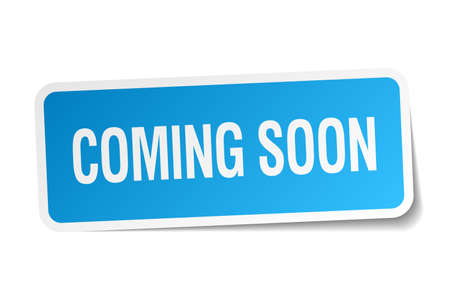 coming soon blue square sticker isolated on white 免版税图像 - 38152580