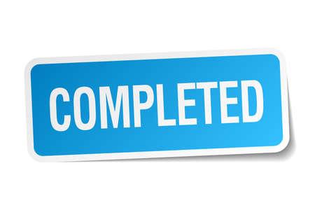 completato: completato quadrato blu adesivo isolato su bianco