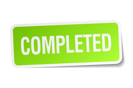 completato: completato piazza adesivo verde su sfondo bianco