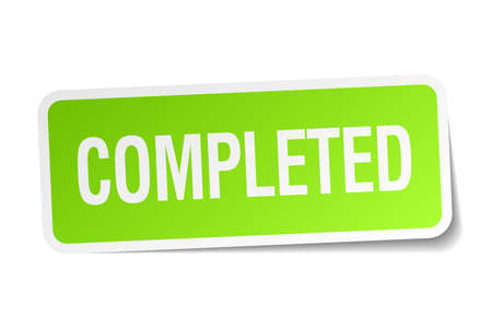 completed: completed green square sticker on white background