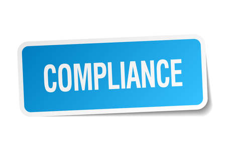 compliance: compliance blue square sticker isolated on white