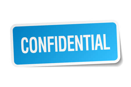 confidential: confidential blue square sticker isolated on white