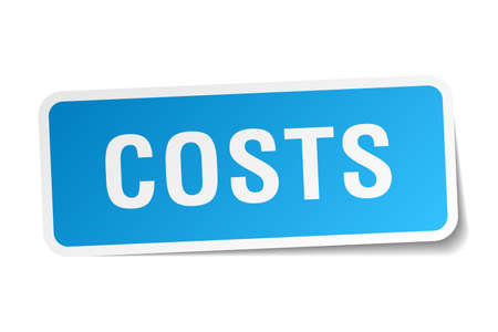 costs: costs blue square sticker isolated on white