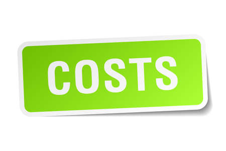 costs: costs green square sticker on white background