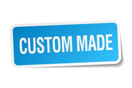 custom made: custom made blue square sticker isolated on white