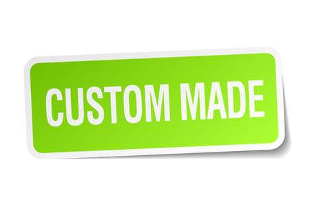 custom made: custom made green square sticker on white background Illustration