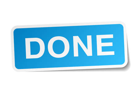 done: done blue square sticker isolated on white