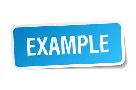 an example: example blue square sticker isolated on white