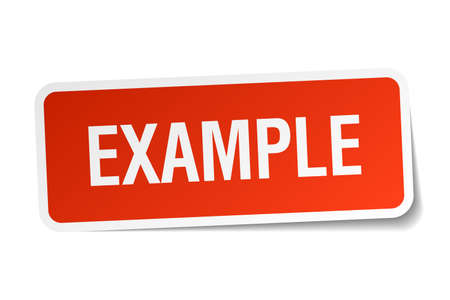 an example: example red square sticker isolated on white