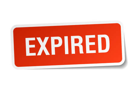 expired: expired red square sticker isolated on white