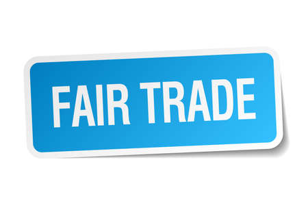 fair trade: fair trade blue square sticker isolated on white